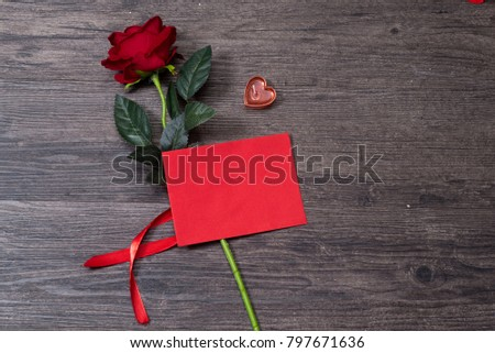 Valentines day background, Valentines day card with roses and gifts on wooden board #797671636