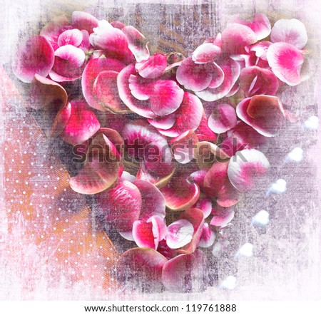 Valentines Day background with heart from red flowers/ Holidays card /Vintage valentin heart on old wooden background with white texture