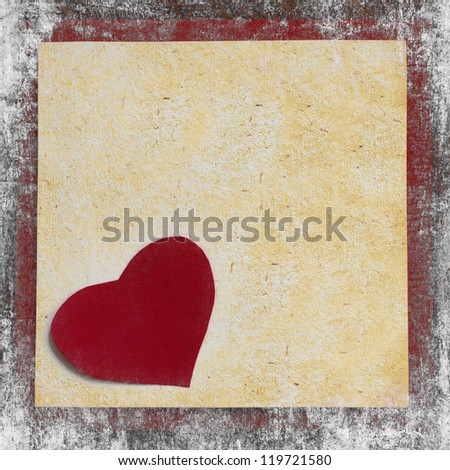 Valentines Day background with heart from red flowers/ Holidays card with framed paper for the sign/Vintage valentin heart on old wooden background with white texture