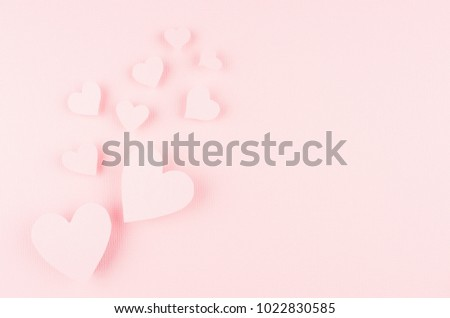 Valentines day background with hearts flying on pink paper, copy space. #1022830585