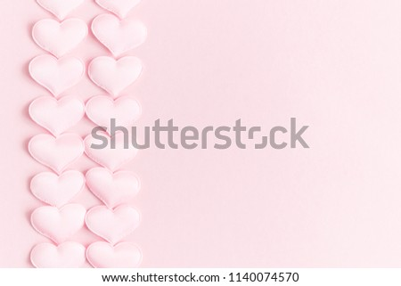 Valentines day background with hearts pink silk, copy space. Valentine day concept for design.  Flat lay, top view, copy space #1140074570