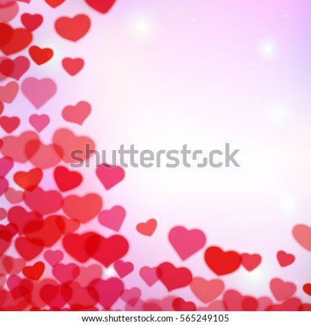 Valentines Day background with scattered blurred hearts #565249105