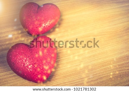 Valentines Day Background With Two Red Heart And Love Hearts On Wooden Texture