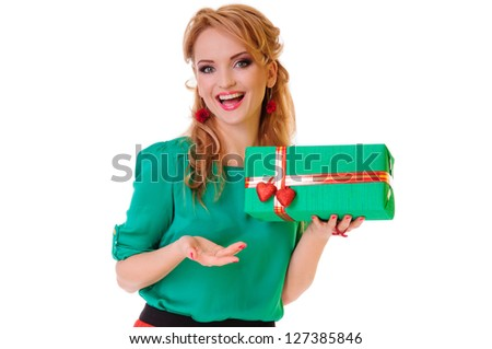 Valentines Day. blonde woman holding Valentines Day gift box. positive portrait isolated