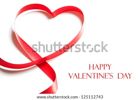 Valentines day card - heart made of ribbon on white background