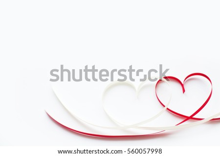 Valentines day card - heart made of ribbon on white background #560057998