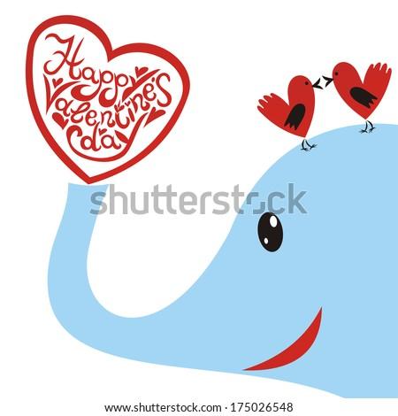 Valentines day card hearts elephant illustration