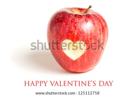 Valentines day card - Red apple with heart on white background