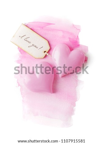 valentines day card with label and pink hearts, pink watercolor background #1107915581