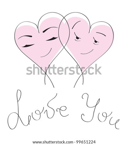 Valentines day card with love massage. Cute cartoon pink hearts couple on white background