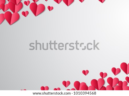Valentines Day card with scattered cut paper hearts #1010394568