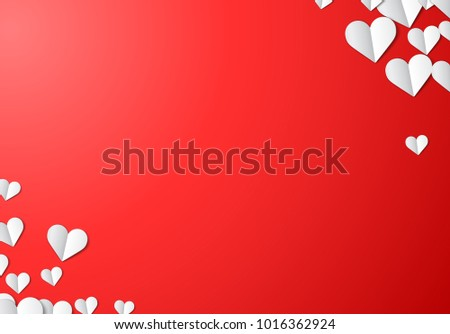 Valentines Day card with scattered cut paper hearts #1016362924