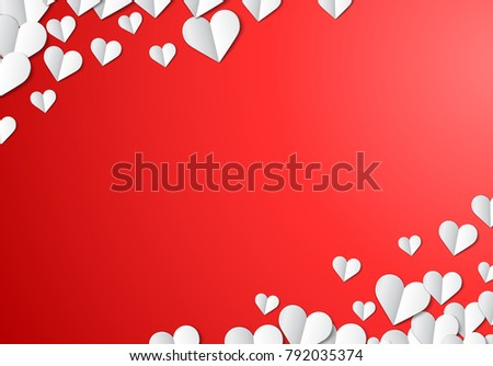 Valentines Day card with scattered cut paper hearts #792035374