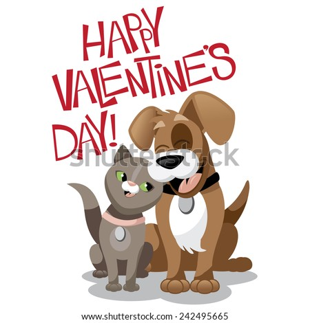 Valentines Day cartoon dog and cat stock illustration