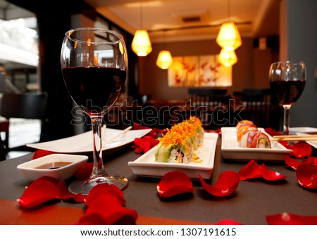 Valentines day celebration, japanese sushi dinner #1307191615