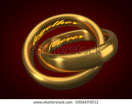 Stock Photo valentines day concept. golden wedding rings with engraved text inside. 3d illustration