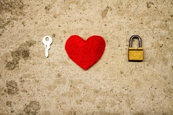 Valentines day concept key and padlock as couple love symbol. For Valentines day background