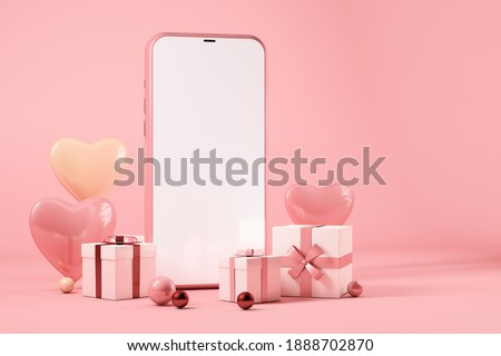 Valentines day concept, Mobile phone with gift boxes and hearts. 3d rendering
