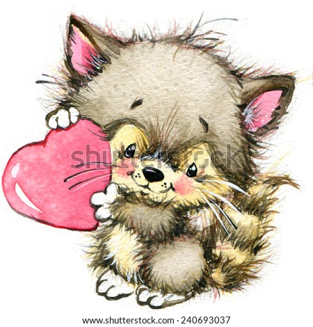Valentines Day Cute Animals And Love S Heart Watercolor Ez Canvas