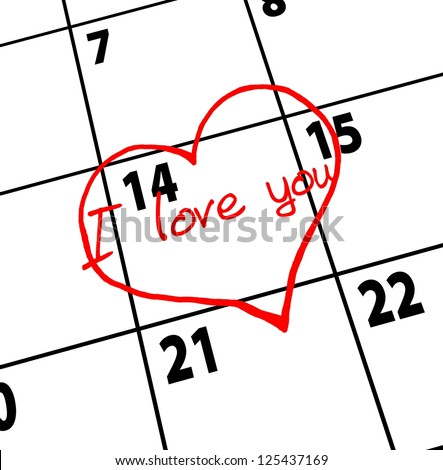 Valentines Day. Date of calendar. Heart - stock photo