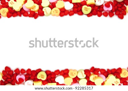 Valentines Day double edge border of assorted candy
