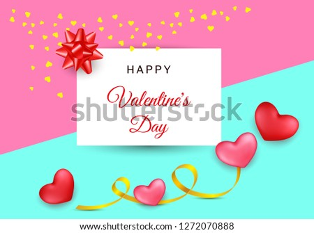 Valentines day festive composition with two red, rose hearts with golden stripe  on a colorful abstract background.  Mother day Banner design. Wedding greeting card. Top view illustration.  #1272070888
