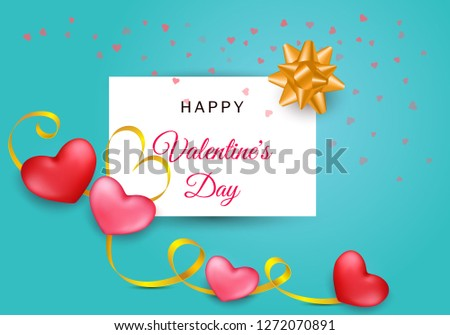 Valentines day festive composition with two red, rose hearts with golden stripe  on a colorful abstract background.  Mother day Banner design. Wedding greeting card. Top view illustration.  #1272070891
