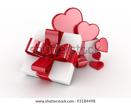 Valentines Day gift with 3D heart symbols isolated -3D Rendered
