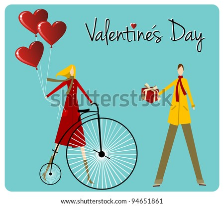 Valentines day greeting card background: Couple with vintage bike and heart shape balloons.