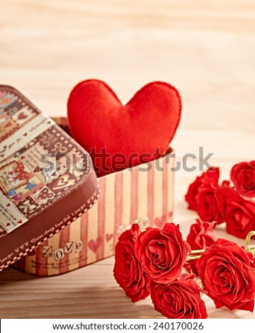 Valentines Day. Heart Handmade in gift box and Red Roses, Vintage. Retro Styled. Love concept on wooden background