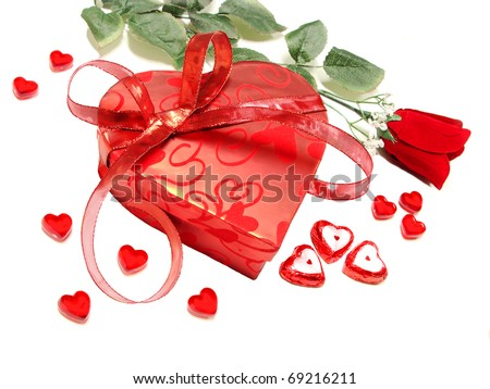 Valentines Day - heart-shaped box with rose, chocolates and gems