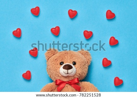 Valentines Day. Love. Teddy Bear with Candies Sweets. Minimal. Art. Cute on Red hearts background, Dessert. Fun Romantic style, Vintage creative #782251528