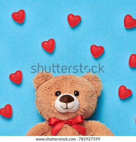 Valentines Day. Love. Teddy Bear with Candies Sweets. Minimal. Art. Cute on Red hearts background, Dessert. Fun Romantic style, Vintage creative #782927599