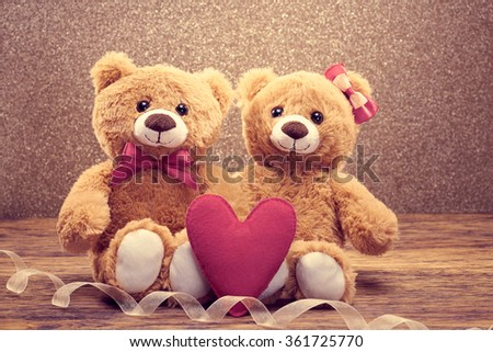 Valentines Day. Love. Valentine Couple Teddy Bears in embrace, hugging. Handmade heart, bow. Valentines Day vintage retro romantic.Unusual creative valentine greeting card. Family, wedding,friendship
