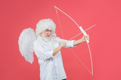 Valentines Day old cupid. Arrows of love. Cherubic angel throws arrow with bow. Valentine day.