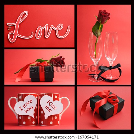 Valentines Day or love theme collage of five images including the word, Love, loving message on red polka dot coffee mugs, red rose with champagne flutes and black gift box jewelry present.