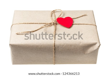 valentines day parcel, isolated on white background