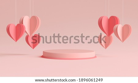 Valentines day podium surrounded by hanging hearts in 3D rendering. Cylinder shape for product display with valentine's day concept. Pink and red colors, Pedestal, Podium, Stand, 3D illustration.