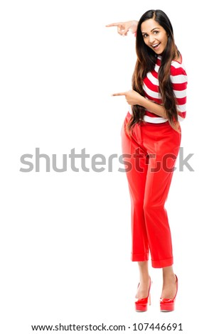 Valentines day portrait of beautiful Indian woman wearing red on white background