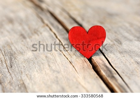 Valentines day red heart on old wood. Holidays card with copy space.  #333580568