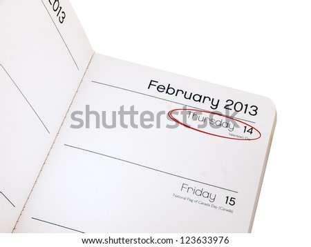 Valentines day reminder - diary February 14 2013