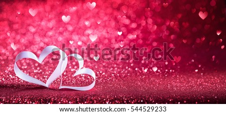 Valentines Day - Ribbon Shaped Hearts On Red Shiny Background  #544529233