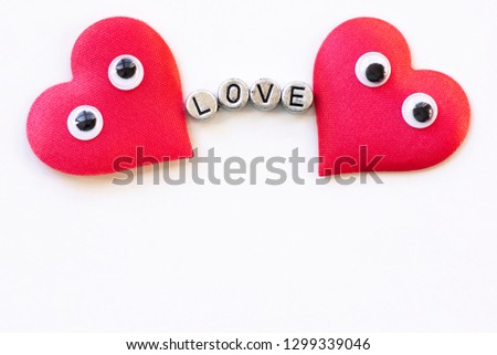 Valentines day romantic background, happy holiday on February 14, love concept. Postcard on a white background, decorated with hearts. Decorative card for the holiday. Vanentine Day. #1299339046