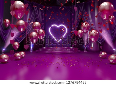 Valentines day romantic background interior decorated with festive red balloons, valentine hearts, red rose flowers petals and lights. Valentine's day card concept. 3D render