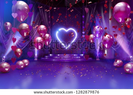 Valentines day romantic background, room interior decorated with festive red balloons, valentine hearts, red rose flowers petals and lights. Valentine's day card concept. 3D render