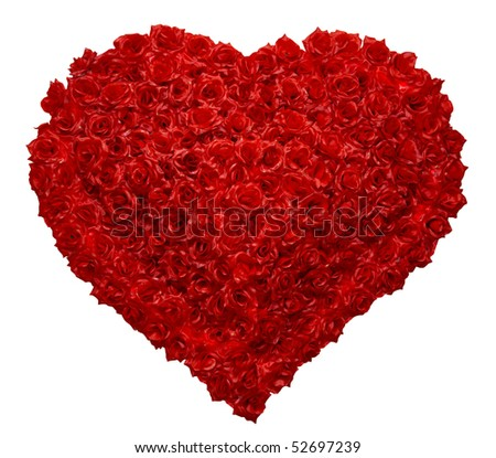 Valentines Day Rose Heart on White Background