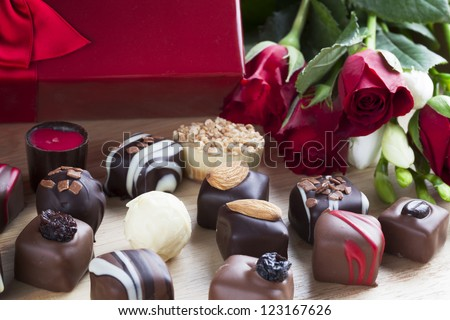 Valentines day roses and chocolates.