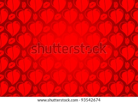 Valentines Day seamless pattern with Hearts, flower and lips, element for design, raster version
