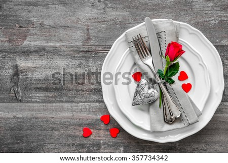 Valentines day table place setting. Holidays background #357734342
