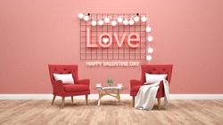 Valentines day theme with light text on wall. 3d rendering